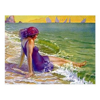 Flapper Girl At The Sea Postcard Sailboats Cloche