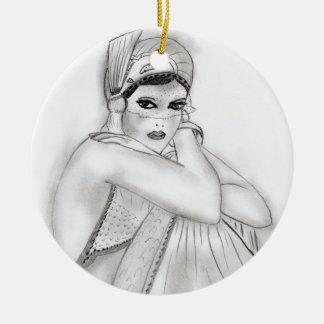 Flapper Girl Ceramic Ornament