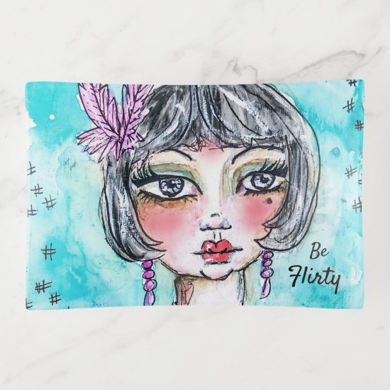 Flapper Girl Cute Fun Watercolor Pink Blue Artsy Trinket Trays