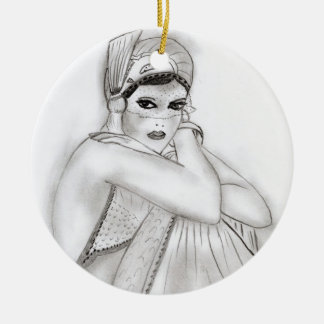 Flapper Girl Double-Sided Ceramic Round Christmas Ornament