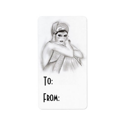 Flapper Girl Gift Tag Label