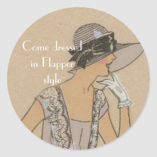 Flapper Girl in Large Brim Hat Classic Round Sticker