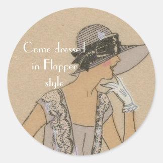 Flapper Girl in Large Brim Hat Classic Round Sticker