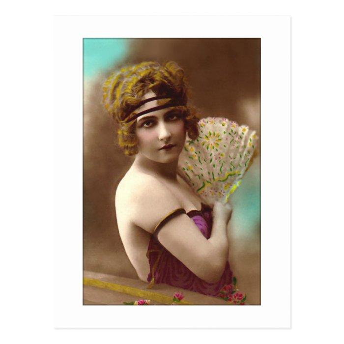 flapper girl in purple with a fan postcard