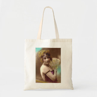 flapper girl in purple with a fan tote bag