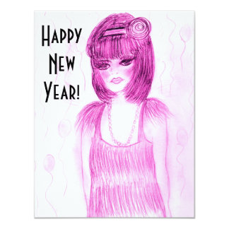 Flapper Girl New Year Invites - Hot Pink