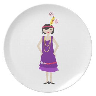 Flapper Girl Dinner Plate