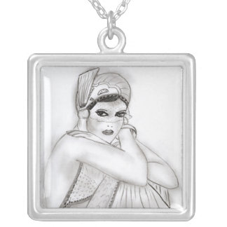 Flapper Girl Silver Plated Necklace