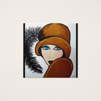 FLAPPER GIRL SQUARE BUSINESS CARD