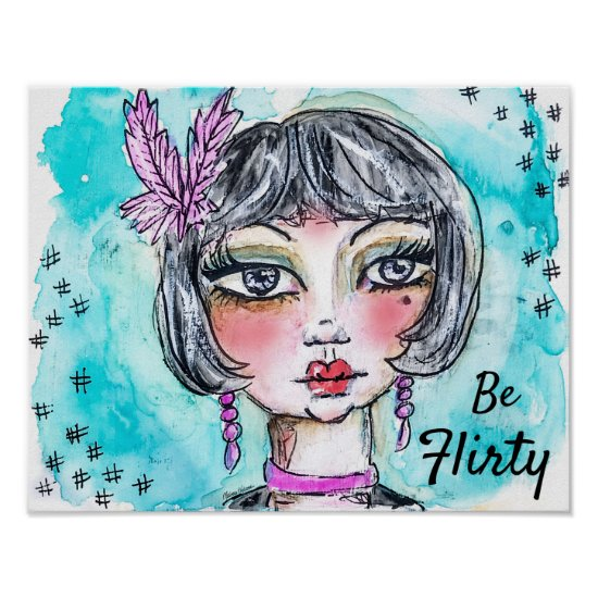 Flapper Girl Watercolor Illustration Whimsical Fun Poster