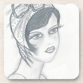 Flapper Girl WIth Bow Beverage Coaster