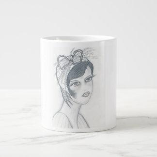 Flapper Girl with Bow Giant Coffee Mug