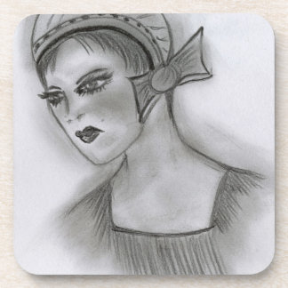 Flapper Girl With Bow I Beverage Coaster