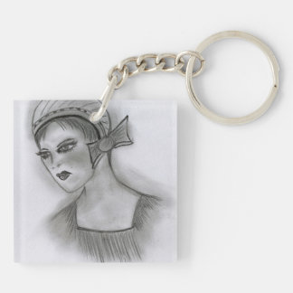 Flapper Girl With Bow I Keychain