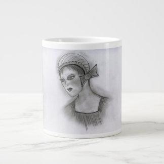 Flapper Girl With Bow I Large Coffee Mug