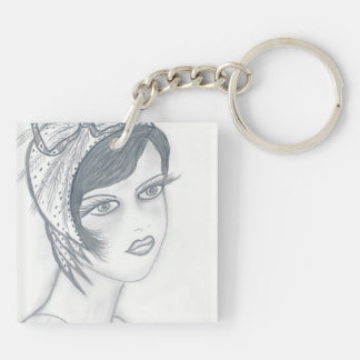 Flapper Girl with Bow Square Acrylic Key Chain