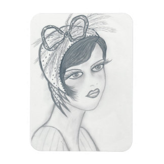 Flapper Girl with Bow Magnet