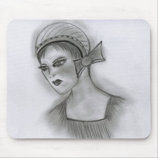 Flapper Girl With Bow Mouse Pad
