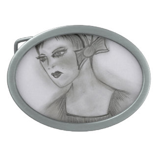 Flapper Girl with Bow Oval Belt Buckle