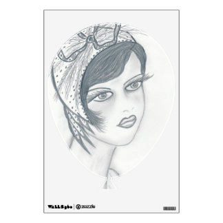 Flapper Girl with Bow Wall Decal