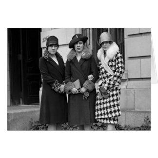 Flapper Girls, Cloche Hats 1920s Card