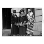 Flapper Girls, Cloche Hats 1920s Greeting Card