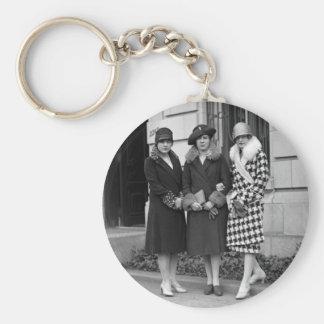 Flapper Girls, Cloche Hats 1920s Basic Round Button Keychain