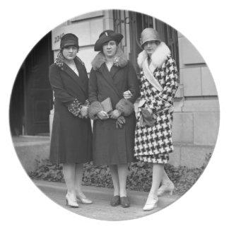 Flapper Girls, Cloche Hats 1920s Melamine Plate