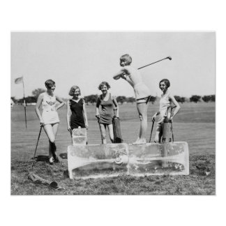Flapper Girls Playing Golf, 1926. Vintage Photo Poster