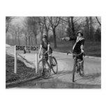 Flapper Girls Riding Bicycles, 1925 Postcard