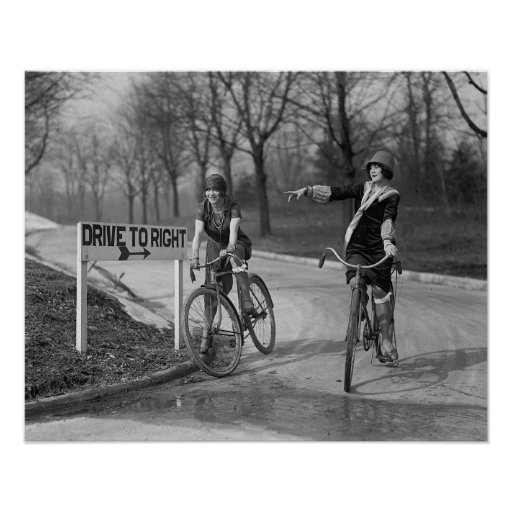 Flapper Girls Riding Bicycles, 1925 Poster