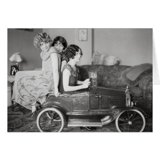 Flapper Girls Riding Pedal Car, 1922 Card
