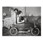 Flapper Girls Riding Pedal Car, 1922 Postcard