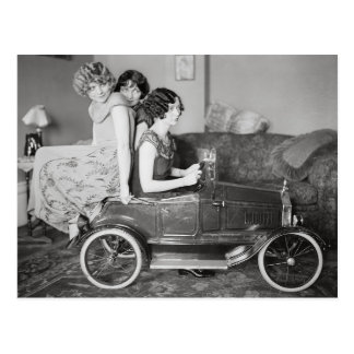 Flapper Girls Riding Pedal Car, 1922 Postcard