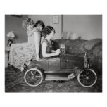 Flapper Girls Riding Pedal Car, 1922 Posters