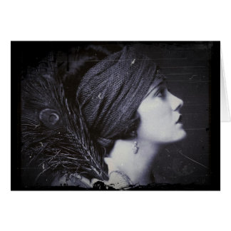 Flapper in a Feathered Turban Greeting Card