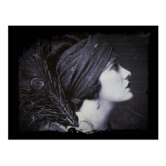 Flapper in a Feathered Turban Postcard