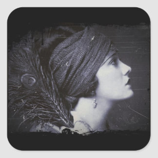 Flapper in a Feathered Turban Square Sticker