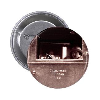 Flapper in Eastman Kodak Car - Vintage, 1920s Button