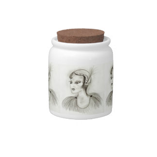 Flapper in Feathers Candy Jar