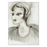 Flapper in Feathers Greeting Cards