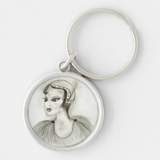 Flapper in Feathers Keychain