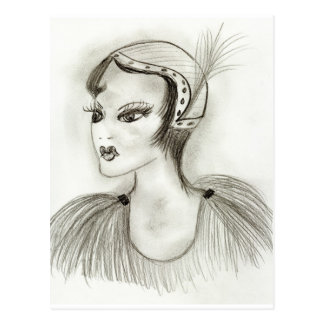 Flapper in Feathers Postcard