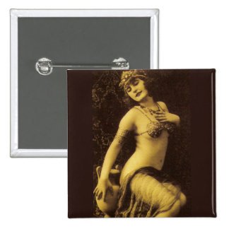 Flapper in Sepia Pinback Button