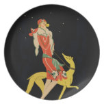 Flapper Lady and Dog  - 1930s illustration Plate