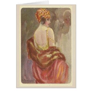 Flapper Lady in Evening Wear, Card