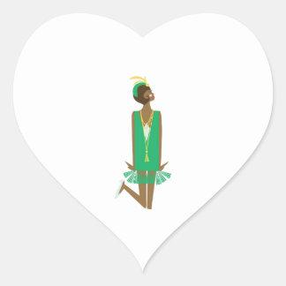 Flapper Lady Heart Sticker