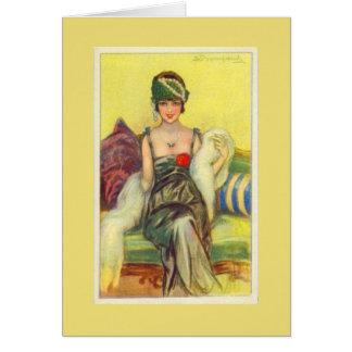 Flapper on a Settee, Card