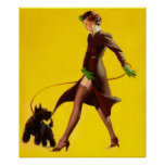 Flapper Pinup Girl Walking Her Pet Dog Print