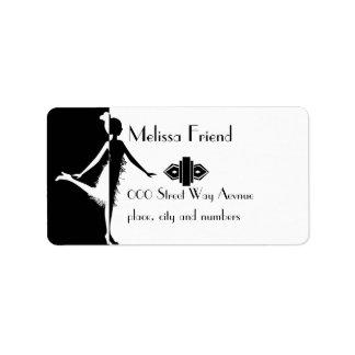 Flapper Silhouette Custom Address Labels